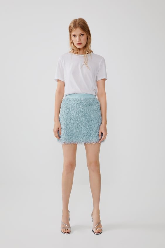 84a55642c FEATHER LOOK MINI SKIRT - Mini-SKIRTS-WOMAN-NEW COLLECTION | ZARA ...