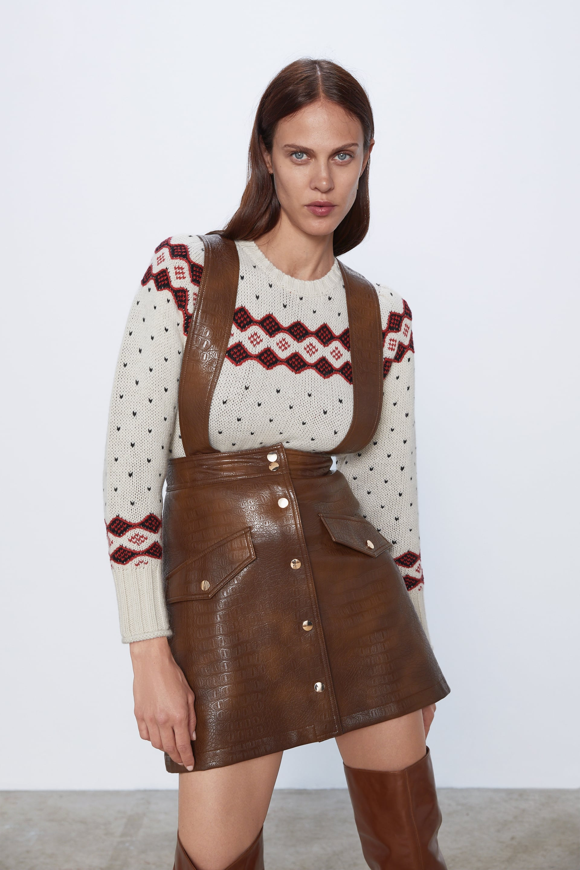 Image 2 of FAUX LEATHER MINI SKIRT WITH SUSPENDERS from Zara