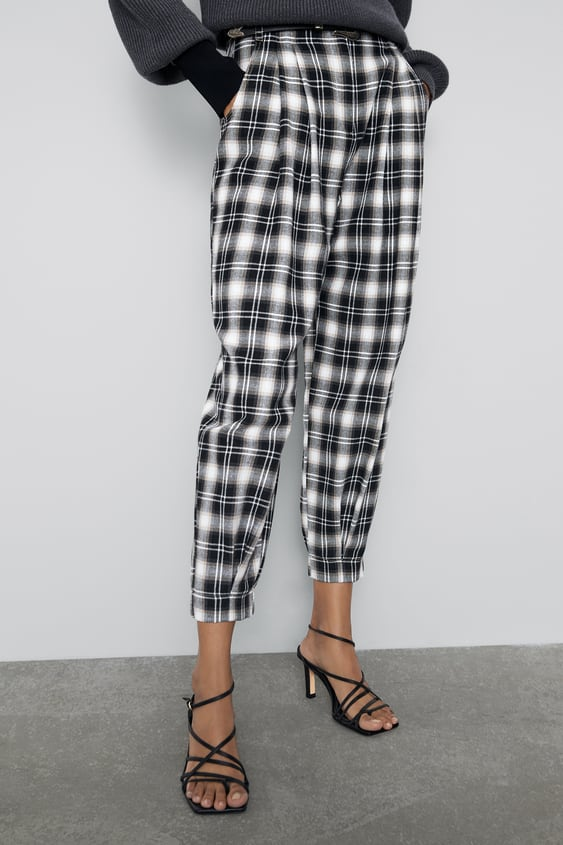 Slouchy Plaid Pants View All Pants Woman by Zara