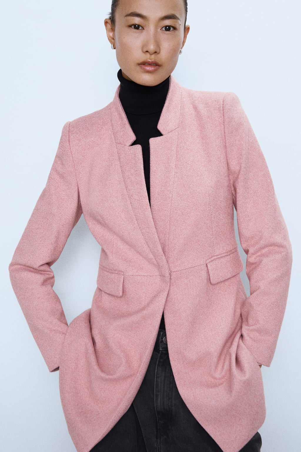 Image 1 of INVERTED LAPEL COLLAR FROCK COAT from Zara