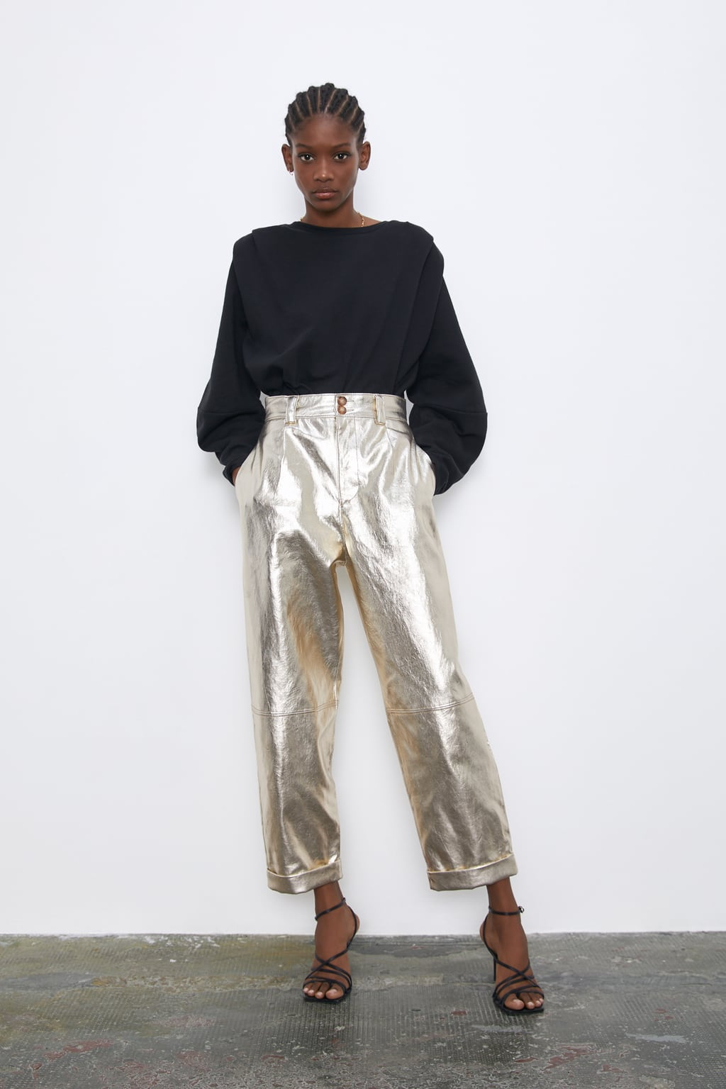 Image 1 of METALLIC FAUX LEATHER SLOUCHY TROUSERS from Zara