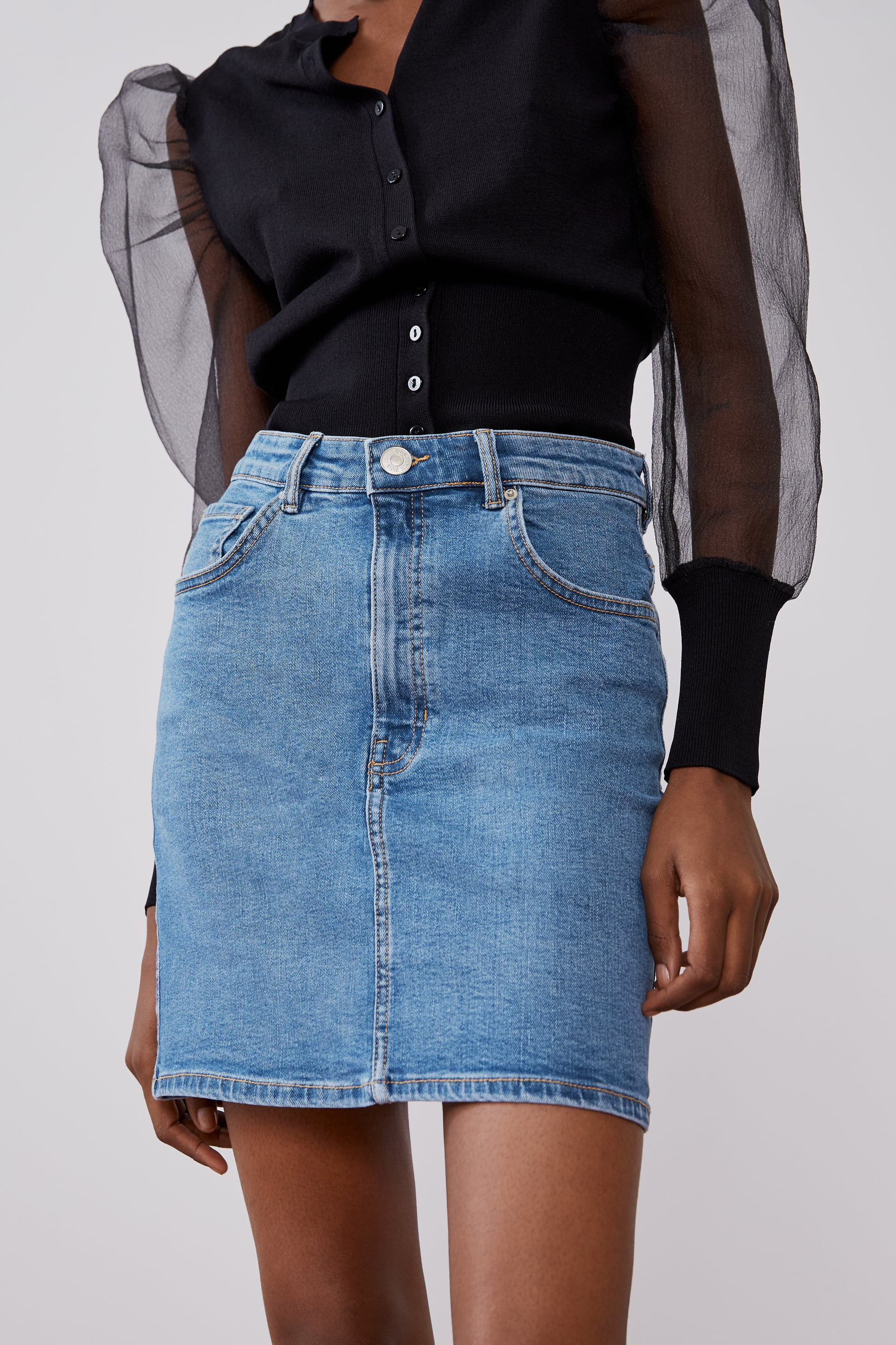 Image 2 of DENIM MINI SKIRT from Zara
