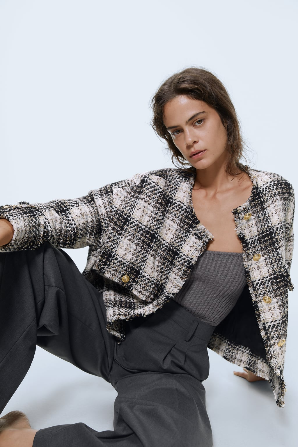 Image 4 of CHECK TWEED JACKET from Zara