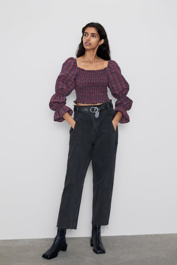 Checked Crop Top  New Inwoman by Zara