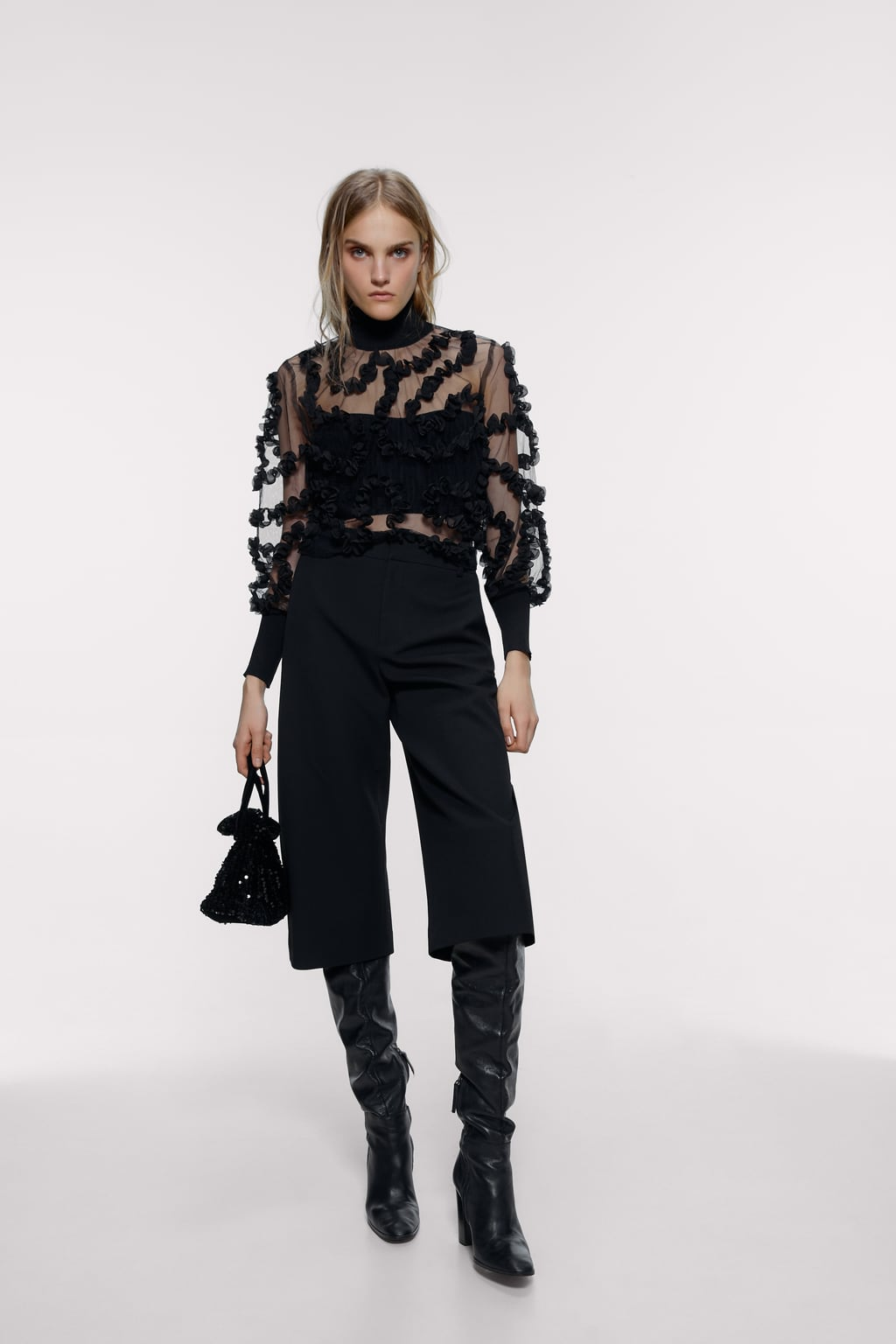 Image 1 of SEMI-SHEER CONTRAST TOP from Zara