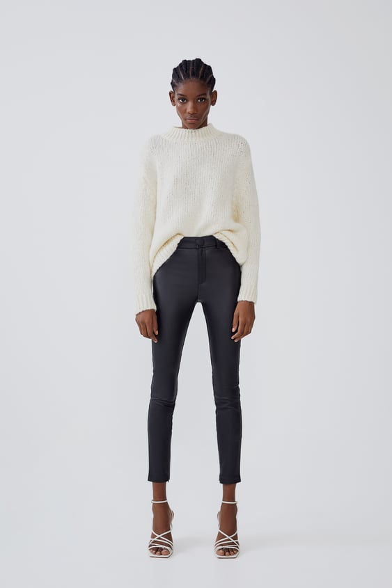 High Waisted Leggings With Waxed Finish New Intrf by Zara