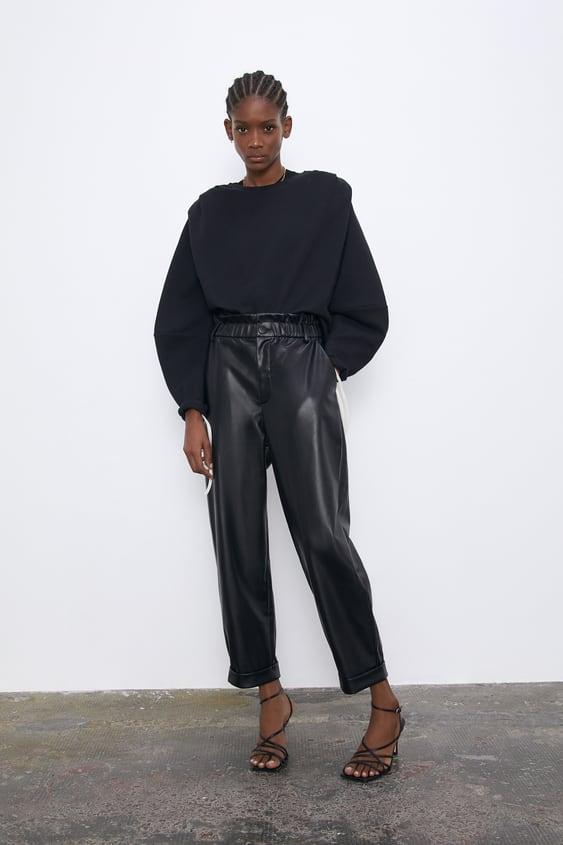 Pantalon Slouchy Efecto Piel Zara Chile