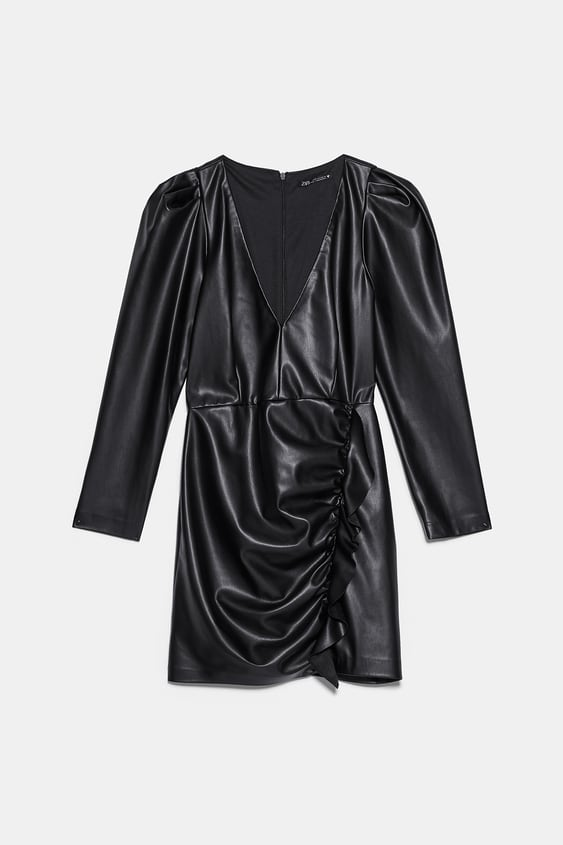 FAUX LEATHER DRESS WITH RUFFLES
