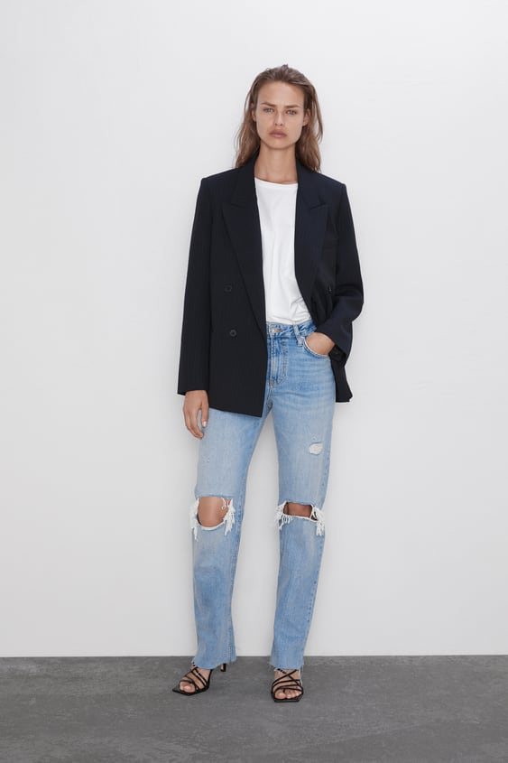 Zw Premium Straight Jeans In Misty Blue View All Jeans Woman by Zara