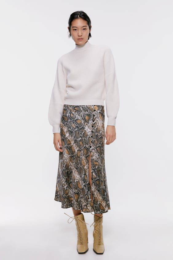durable in use fashion style of 2019 for sale SNAKESKIN PRINTED MIDI SKIRT