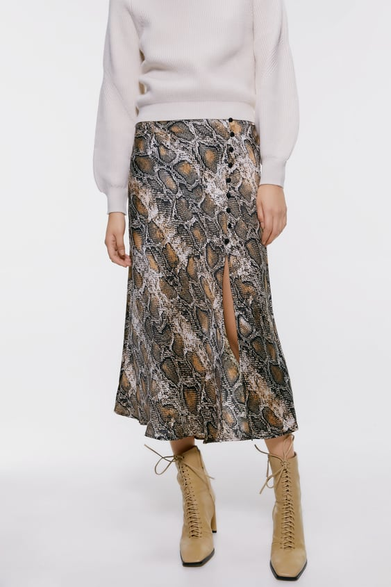 great fit exceptional range of styles and colors up-to-date styling SNAKESKIN PRINTED MIDI SKIRT - Midi-SKIRTS | SHORTS-WOMAN ...