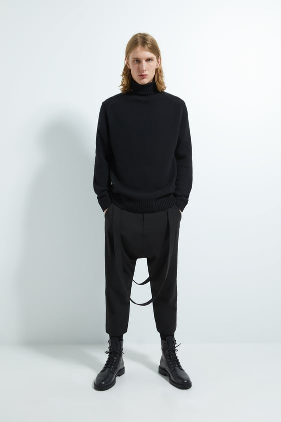 Baggy Pants With Straps by Zara
