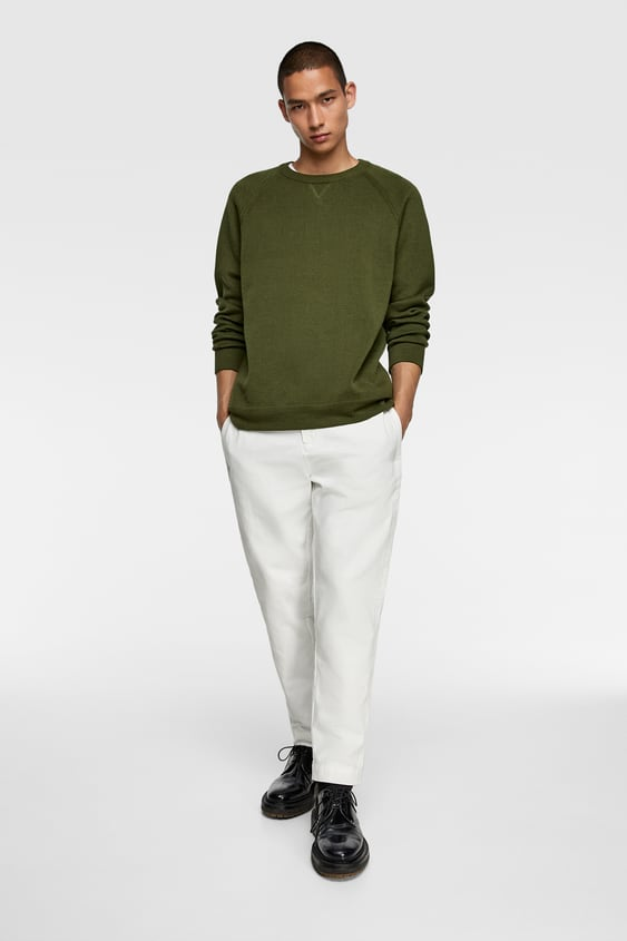 Cropped Textured Weave Pants by Zara