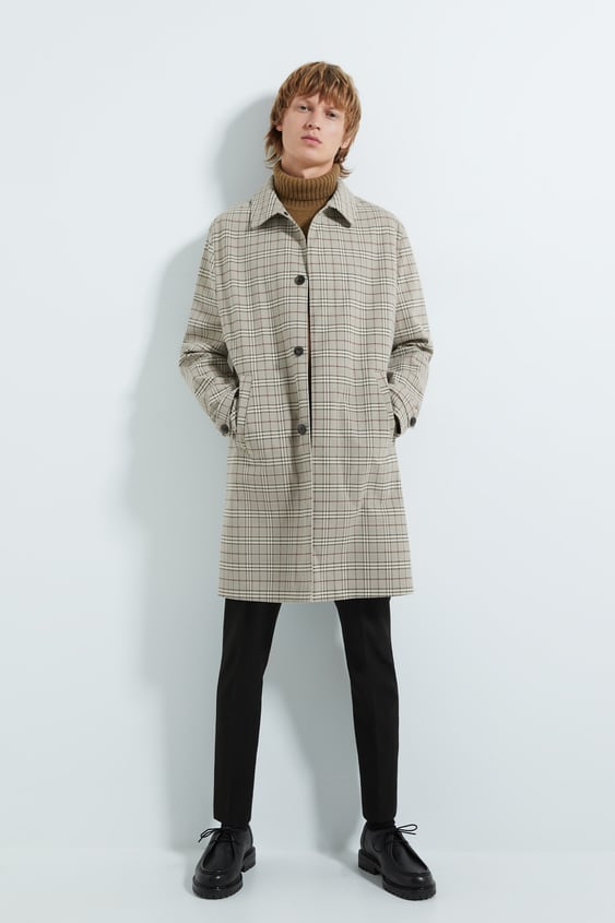 Check Traveller Trench Coat Outerwearman by Zara