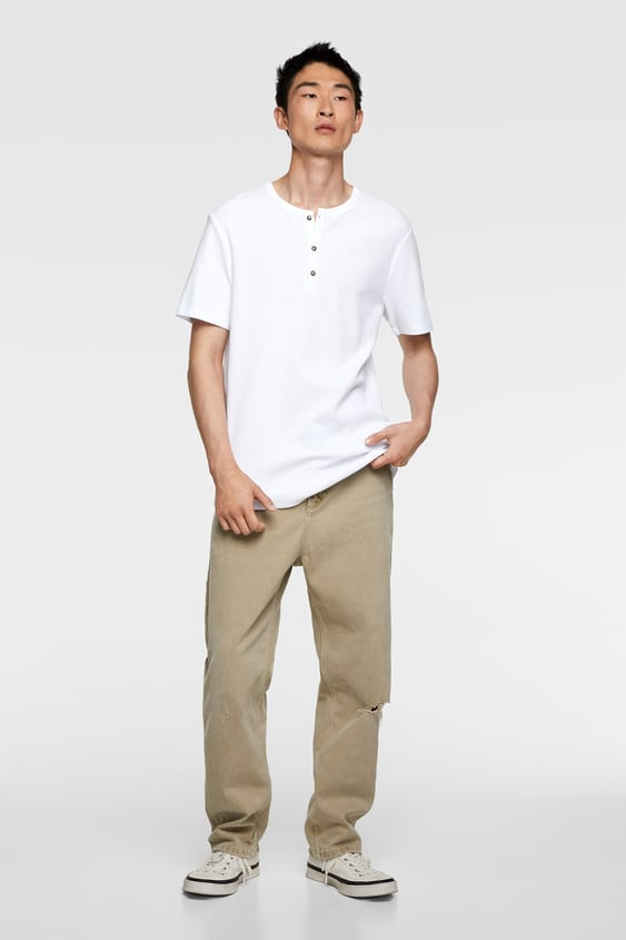 c550d1c429 BUTTONED WAFFLE WEAVE HENLEY