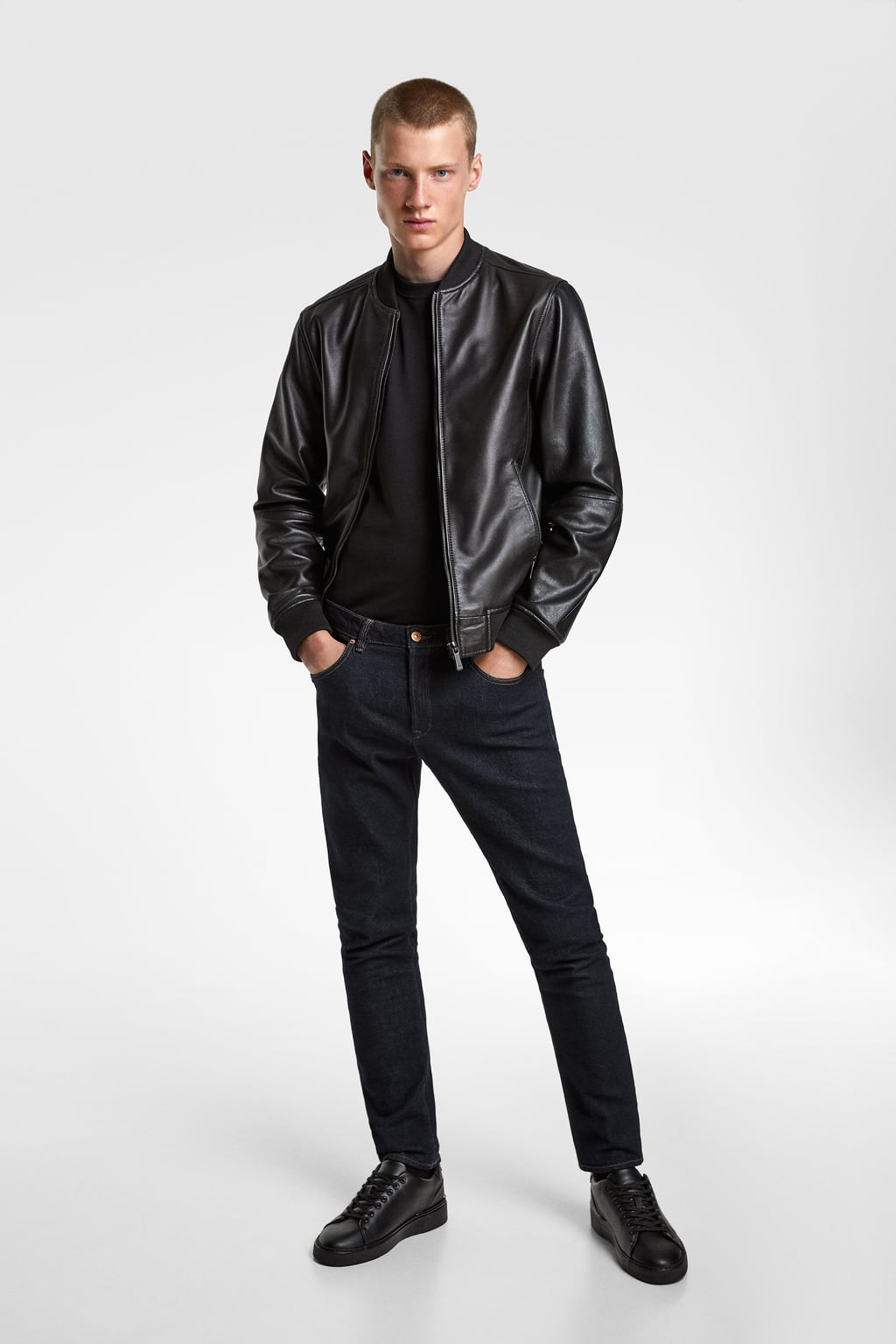 Image 1 of LEATHER BOMBER JACKET from Zara