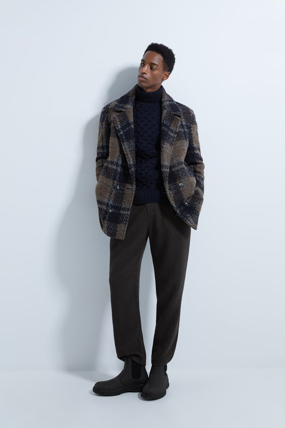 Textured Plaid Car Coat by Zara