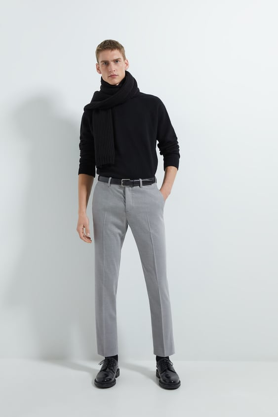 Contrasting Textured Weave Suit Pants by Zara