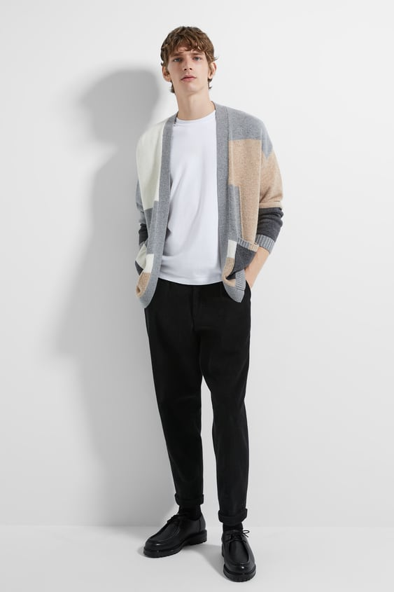 Colour Block Cardigan View All Knitwear Man by Zara