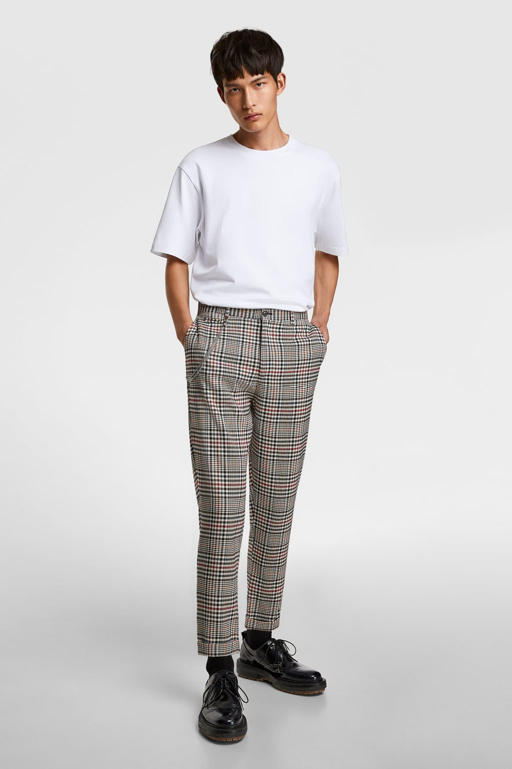 Plaid Tapered Fit Cropped Pants View All Trousers Man by Zara