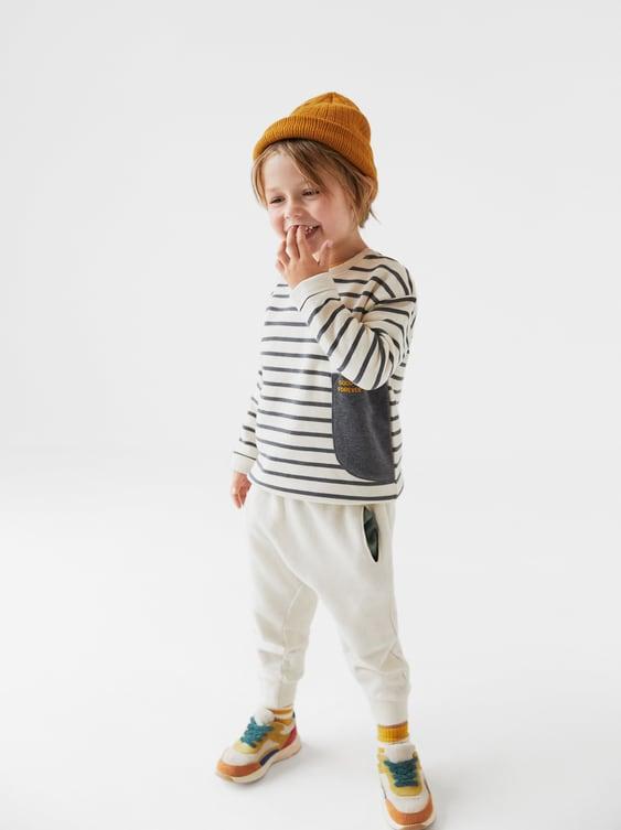 """Good Time"" Striped Sweatshirt  Sweatshirtsbaby Boy by Zara"