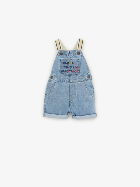 Denim Overalls With Contrasting Suspenders  Jumpsuitsbaby Boy by Zara