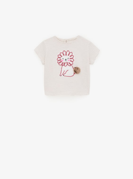 PRINTED T-SHIRT WITH POMPOM DETAIL