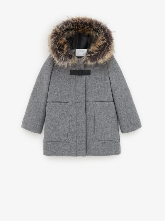 sale online high fashion vast selection WOOLLY DUFFLE COAT WITH FUZZY TRIM