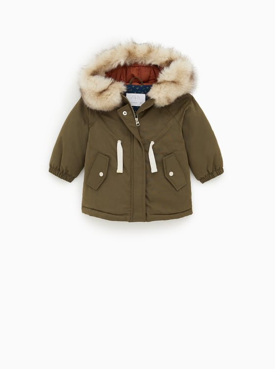 36c297ccc HOODED PARKA WITH FAUX FUR TRIM