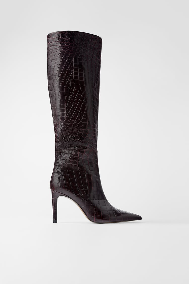 Image 2 of ANIMAL PRINT LEATHER HEELED BOOTS from Zara