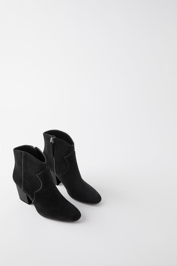 Leather Cowboy Ankle Boots  Boots by Zara