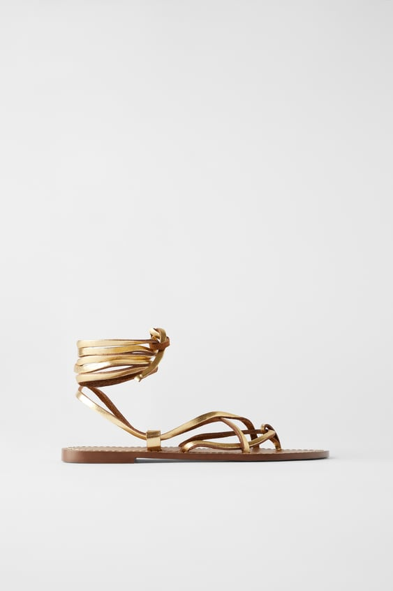 ea0bf09bba7c7 LOW - HEELED STRAPPY LEATHER SANDALS-Flat Sandals-WOMAN | ZARA Canada