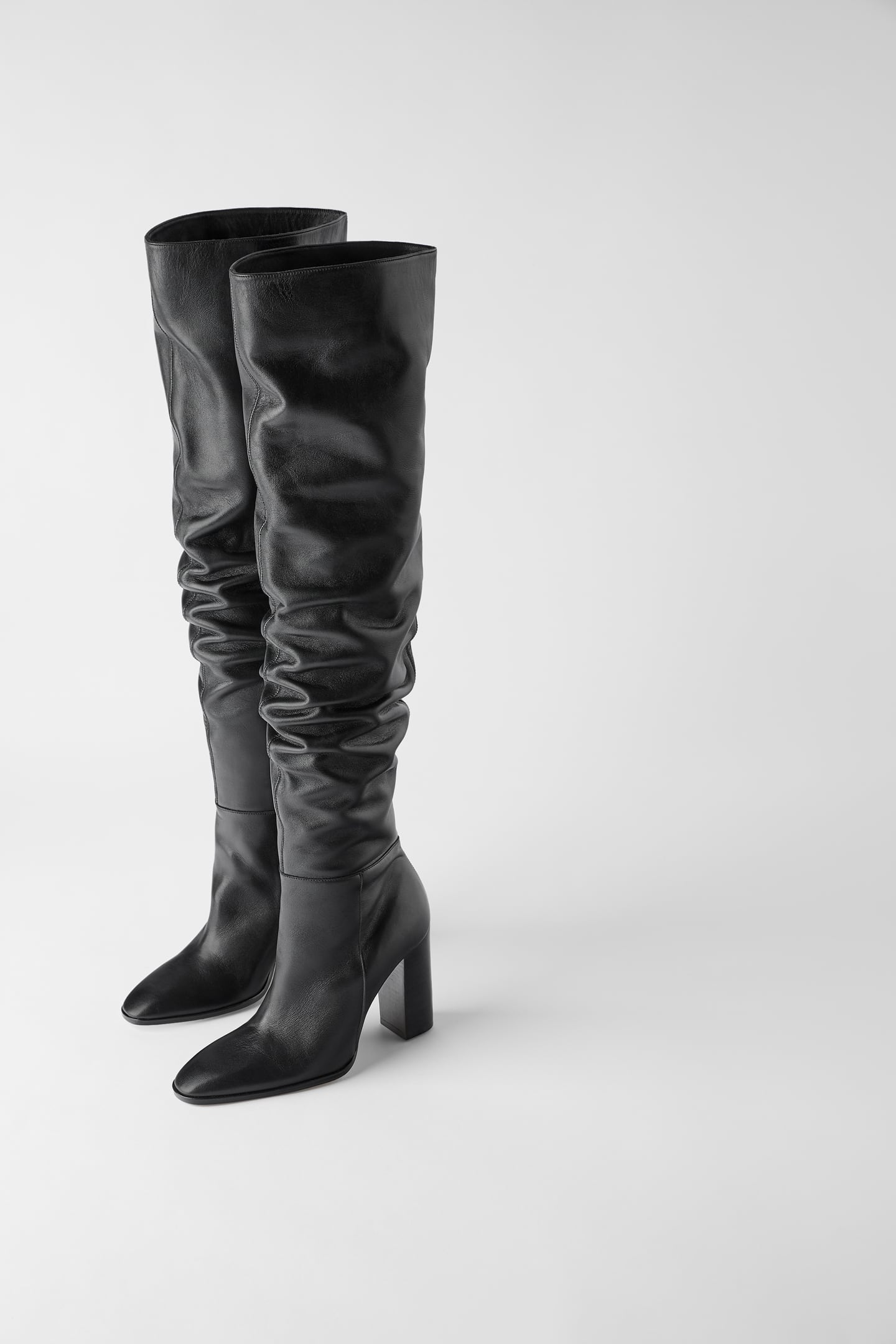 Image 1 of OVER THE KNEE HEELED LEATHER BOOTS from Zara