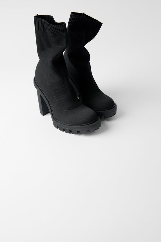 Sock Style Heeled Ankle Boots With Lug Soles  View All Woman Shoes by Zara