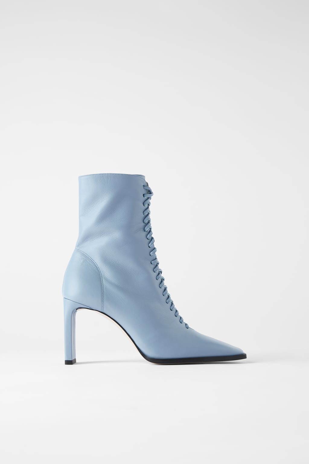 Image 2 of LACE-UP LEATHER HIGH HEEL ANKLE BOOTS from Zara