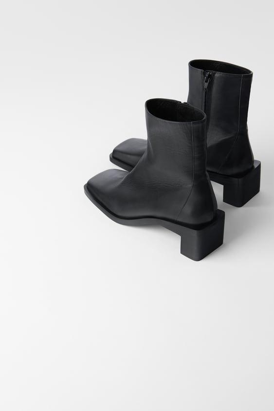 Heeled Leather Square Toe Ankle Boots  Womanshoes &Amp; Bags New In by Zara