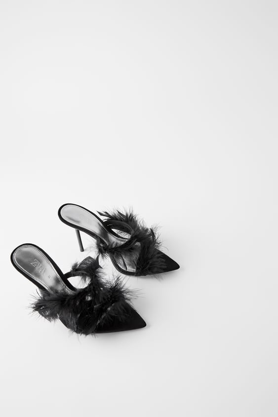 united states various design buying cheap BLUE COLLECTION LEATHER HIGH - HEEL MULES WITH FEATHERS-Sandals ...