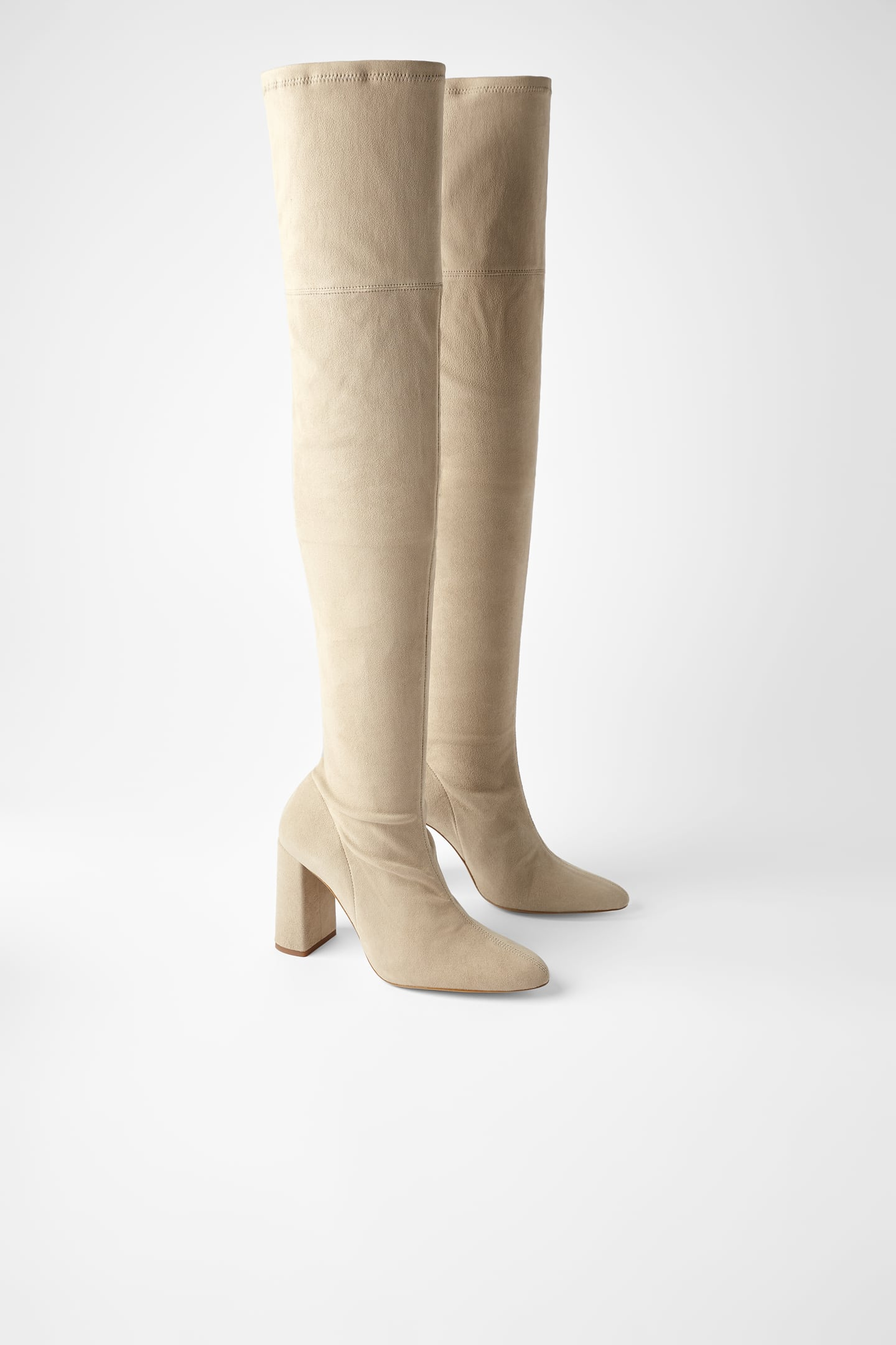 Image 1 of OVER THE KNEE SUEDE HEELED BOOTS from Zara