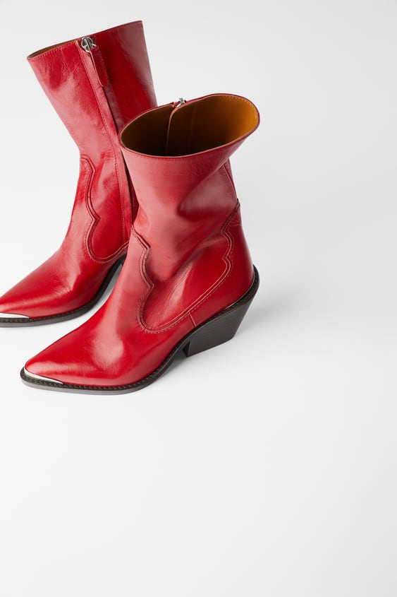 e5556f80c61 LEATHER HEELED COWBOY ANKLE BOOTS WITH METAL DETAIL