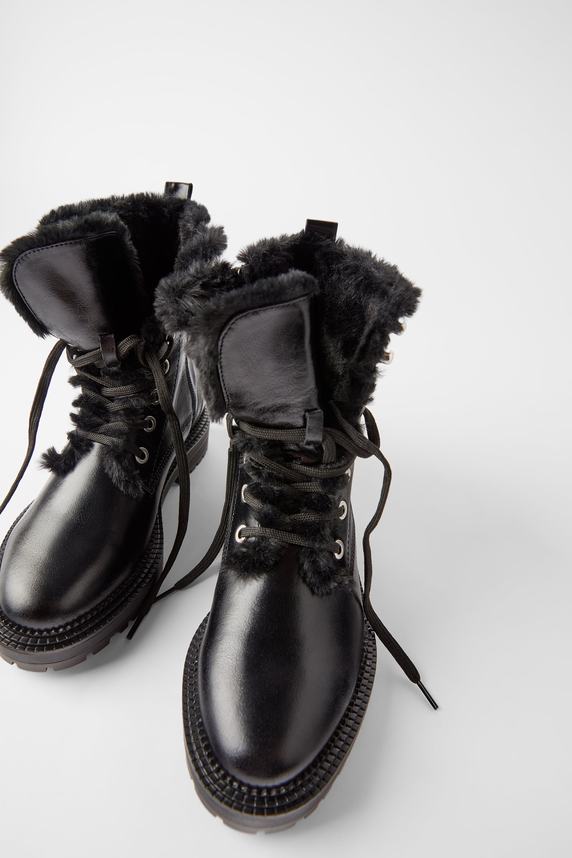 the best attitude various design best sneakers FLAT LEATHER BIKER ANKLE BOOTS WITH FAUX FUR