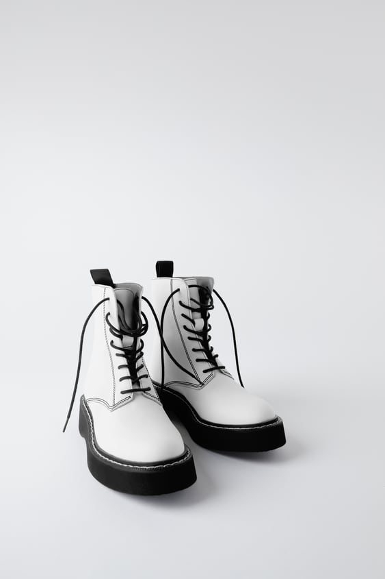 Flat Leather Ankle Boots With Micro Toothed Track Sole Detail View All Shoes Woman by Zara