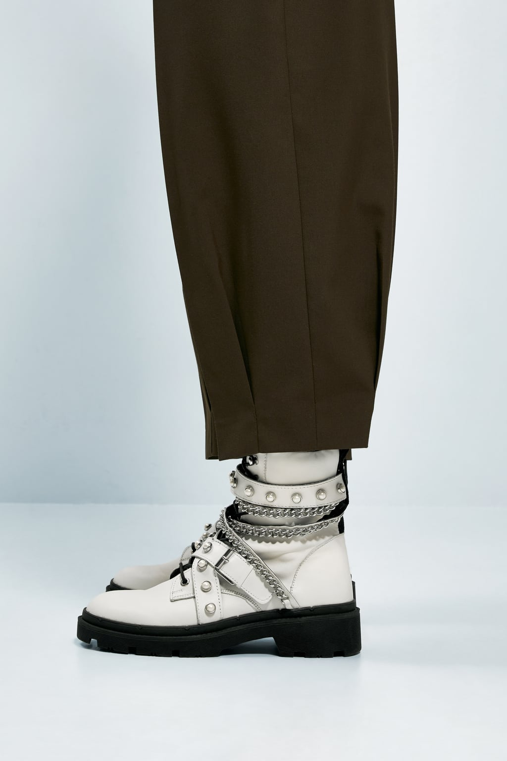 Image 7 of FLAT LEATHER BIKER ANKLE BOOTS from Zara