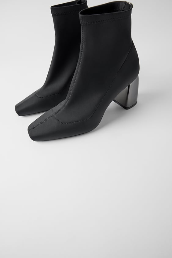 Soft Ankle Boots With Metallic Heels by Zara