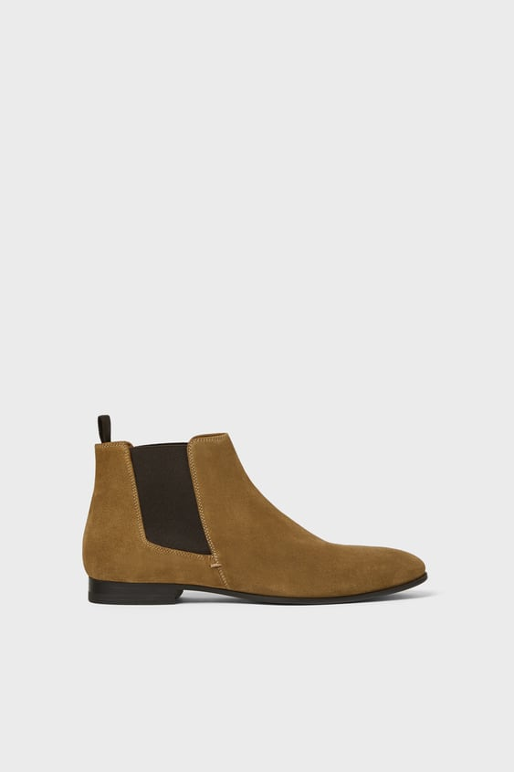 cfc6db3f414 BROWN SPLIT SUEDE ANKLE BOOTS WITH ELASTIC