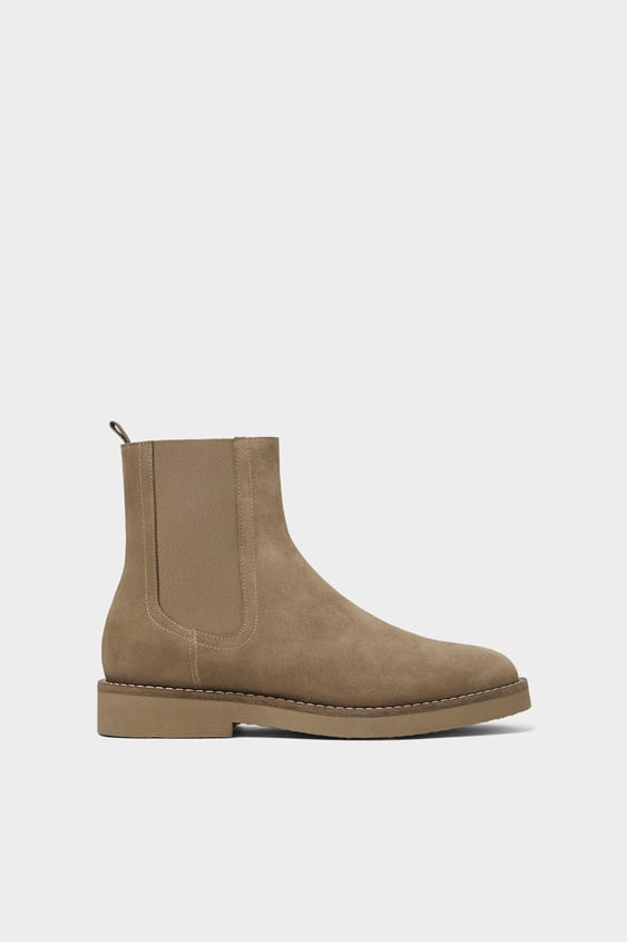 Split Leather High Ankle Chelsea Boot by Zara