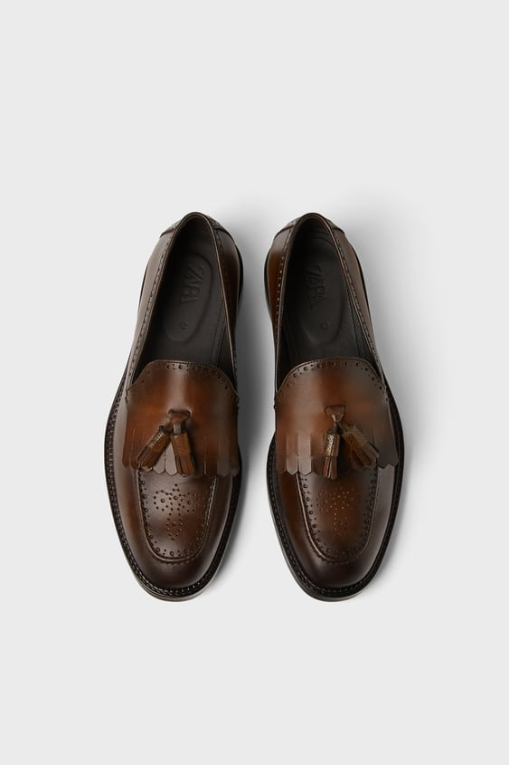 edee6652 Natural Leather Dress Loafers View All Shoes Man by Zara