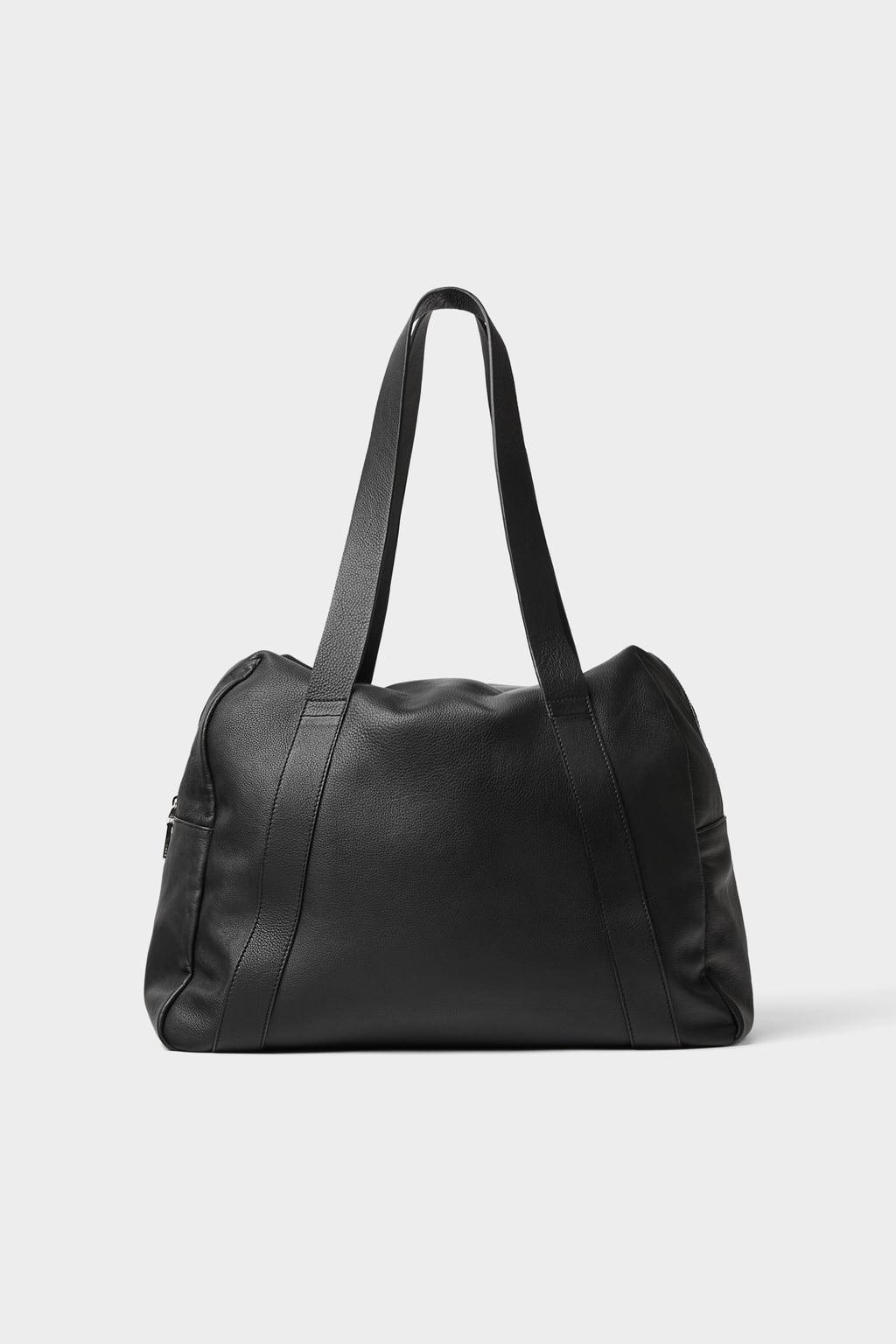 Black Leather Shopper Handbag by Zara