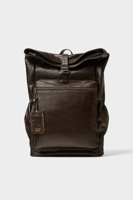 Brown Leather Backpack  Bags Man Shoes & Bags by Zara