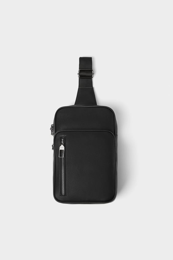 Black Crossbody Bag With Zips  View All Bags And Backpacks Man by Zara