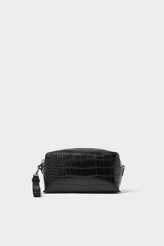 60ffe591df BLACK TOILETRY BAG WITH ANIMAL EMBOSSING